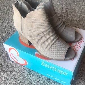 Baretraps Suede Peep-toe Bootie- NEW